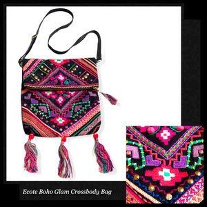 ECOTE Embellished Fabric Crossbody Bag